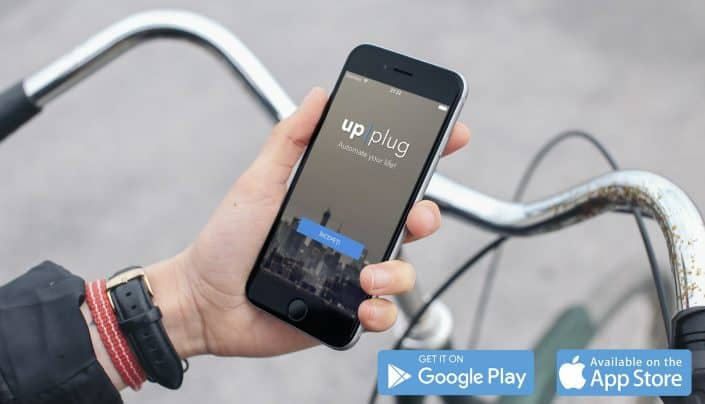 cell phone with upplug logo on screen